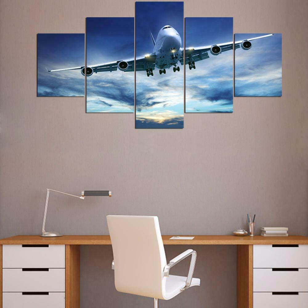 Airplane Jumbo Jet In Cloudy Sky Framed 5 Piece Canvas Wall Art Painting Poster