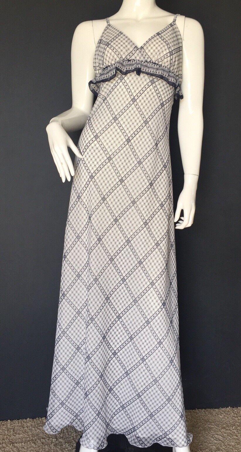 MAX STUDIO Woman's Printed Texturot Ruffle Maxi Dress Sz M