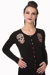 Women-039-s-Black-Sugar-Skull-Gothic-Punk-Emo-Rockabilly-Cardigan-By-Banned-Apparel