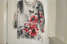 5f3e96ebe1ce0 Alfred Dunner Plus Size 2x Top Sutton Place Brushstroke Floral With Tags
