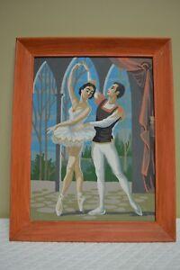 Unusual-Vintage-Paint-By-Number-BALLET-DANCERS-Ballerina-Painting-MCM-Framed