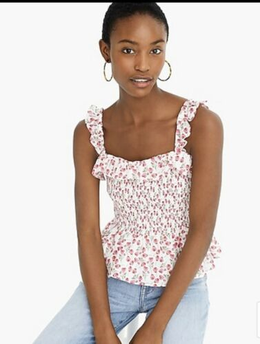 Details about  /*NWT*J Crew Smocked Ruffle Top In Liberty  Ros Floral Size M $98