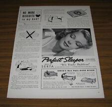 1939 Vintage Ad Serta Perfect Sleeper Mattress Pretty Lady Sleeping