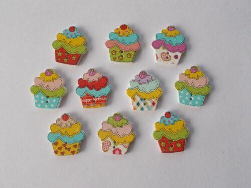 40 Nuevo Pastel Taza de madera en forma de botones coser scrapbook manualidades mezcla aleatoria.