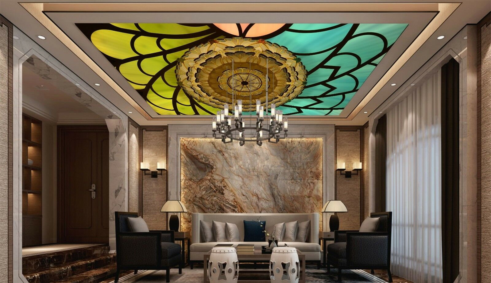 3D Farbe Roof 43 Ceiling Wall Paper Print Wall Indoor Wall Murals CA Jenny