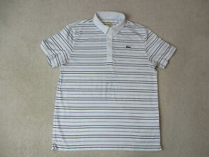 Lacoste-Sport-Polo-Shirt-Adult-Large-White-Black-Striped-Lightweight-Crocodile