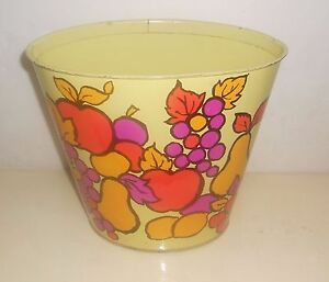 Vintage Tin Litho Fruit Trash Can Kitchen Trashcan Apples Grapes Lemons Pears +_
