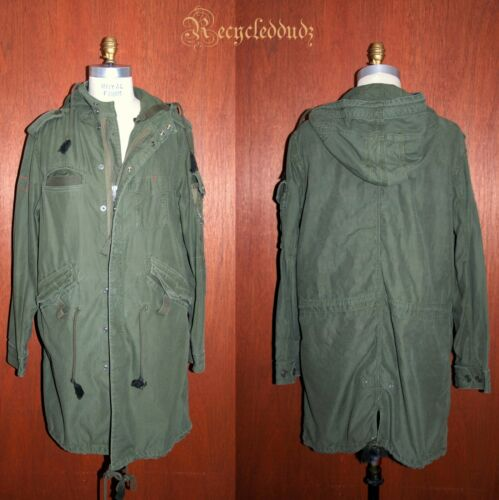 """GAP """"RED"""" Military Army Green Coat sz L (Oversized"""