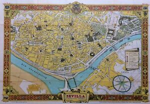 Map Of Spain For Tourists.Details About Sevilla Perspectiva General Original 1950 Map Seville Spain Tourist Map