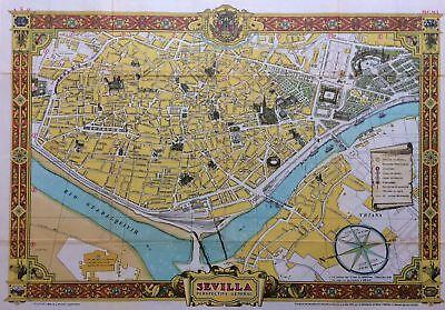 Sevilla Perspectiva General Original 1950 Map Seville Spain