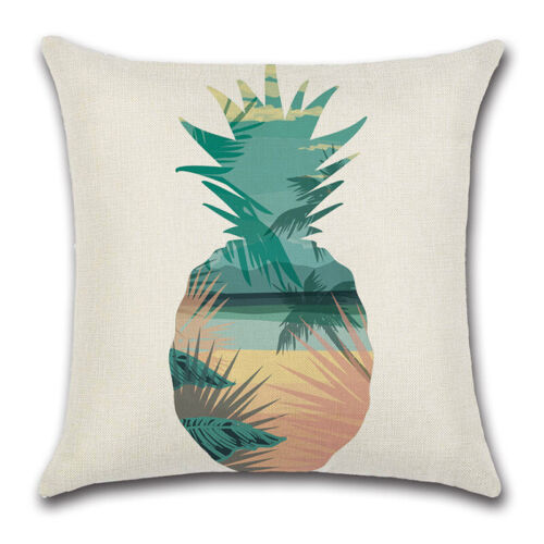 Tropical Leaves Pattern Pillow Cases Cotton Linen Sofa Home Decor Cushion Cover