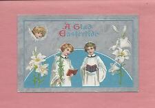 CHOIR BOYS, ANGEL On Beautiful Vintage Unused EASTER Postcard