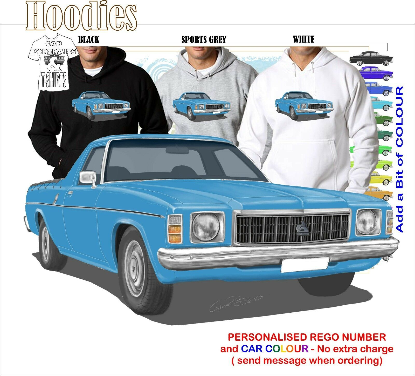 76-77 HX HOLDEN UTE HOODIE ILLUSTRATED CLASSIC RETRO MUSCLE SPORTS CAR