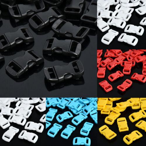 """10 50 100pcs Plastic Buckle 3//8/"""" Contoured Side Release For Paracord Bracelet"""