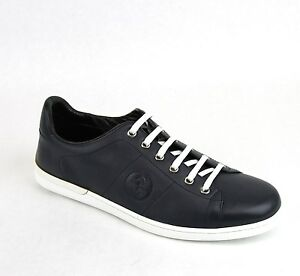 516c280c396 New Gucci Men s Navy Blue Leather Interlocking G Sneakers 329843 ...