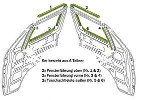 VW-T3-Tuerschachtdichtung-und-Fensterfuehrung-Dichtungssatz-6-tlg-fuer-beide-Tueren
