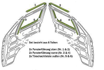 VW T3 Türschachtdichtung und Fensterführung Dichtungssatz 6 tlg. für beide Türen