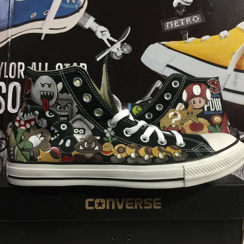 Converse All Star The Custom The Star Eyes Han It HECHO a mano painted sorteo mano fee24d