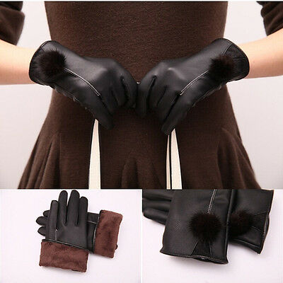 NEW High Quality Women's Winter Warm Black Leather Gloves Touch Screen Mittens