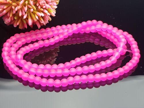 135 Pièces Petit Lait Verre Perles gefrostet Mat Satiné environ fluo rose 6 mm