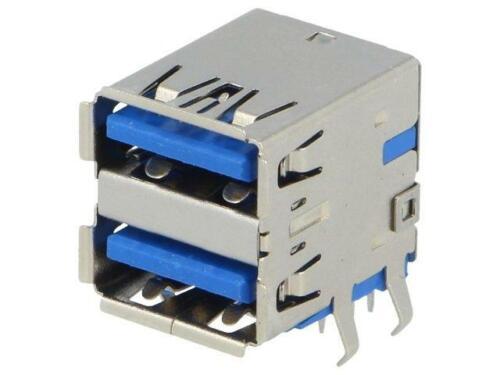TUEA 9FCD0 Socket USB a Sur PCB THT coudé 90 ° double V USB 3.0