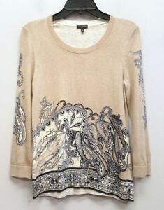 TALBOTS-Size-S-SP-Petite-Beige-Tan-Paisley-Pullover-Crewneck-Thin-Knit-Sweater