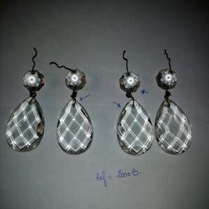 4-Pampilles-anciennes-octogons-pour-lustre-Hauteur-5-50-cm