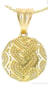14kt Yellow gold Diamond Cut Meshed Weaved Pattern Round Puffed Type Pendant