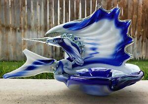 Vtg-Murano-Marlin-Swordfish-Sail-Fish-Ashtray-Blue-Art-Glass-Mid-Century-MCM