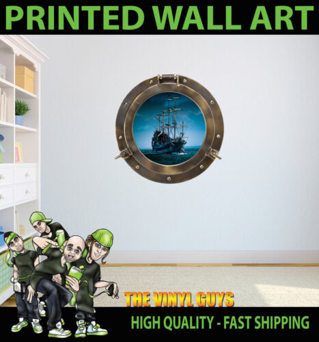 PIRATE SHIP 002 PORTHOLE WALL ART VINYL DECOR PRINT DECAL STICKER