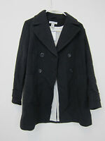 H&m Lined Pea Coat - Womens 6 - Black -