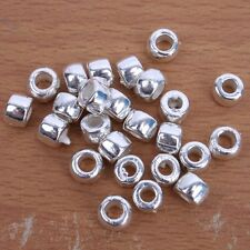 500x 150267 Hotsale Charms Faceted Tube Plated Silver Alloy European Beads 7X5mm
