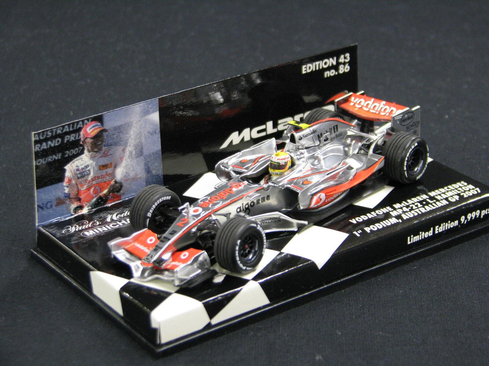 Minichamps McLaren Mercedes MP4 22 2007 1 43  2 Lewis Hamilton (GBR) GP AUS (JS)