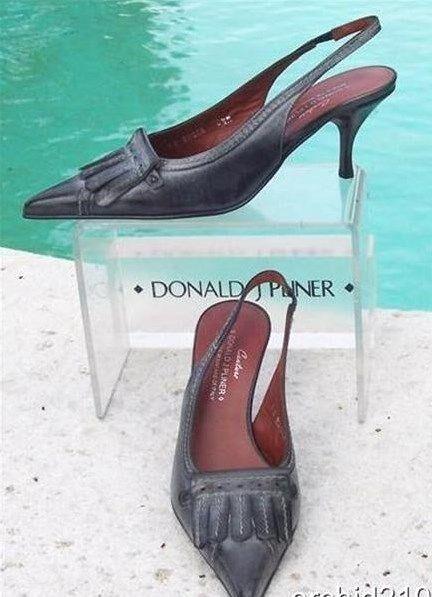 Donald Pliner Couture Oil Skin Calf Pelle Pump Shoe New Slingback 6 6.5  255