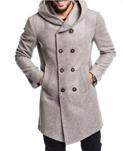 pour double de boutonnage la hommes à en Veste mélange capuche en trench manteau à H218 à pour laine mode xzFnYg
