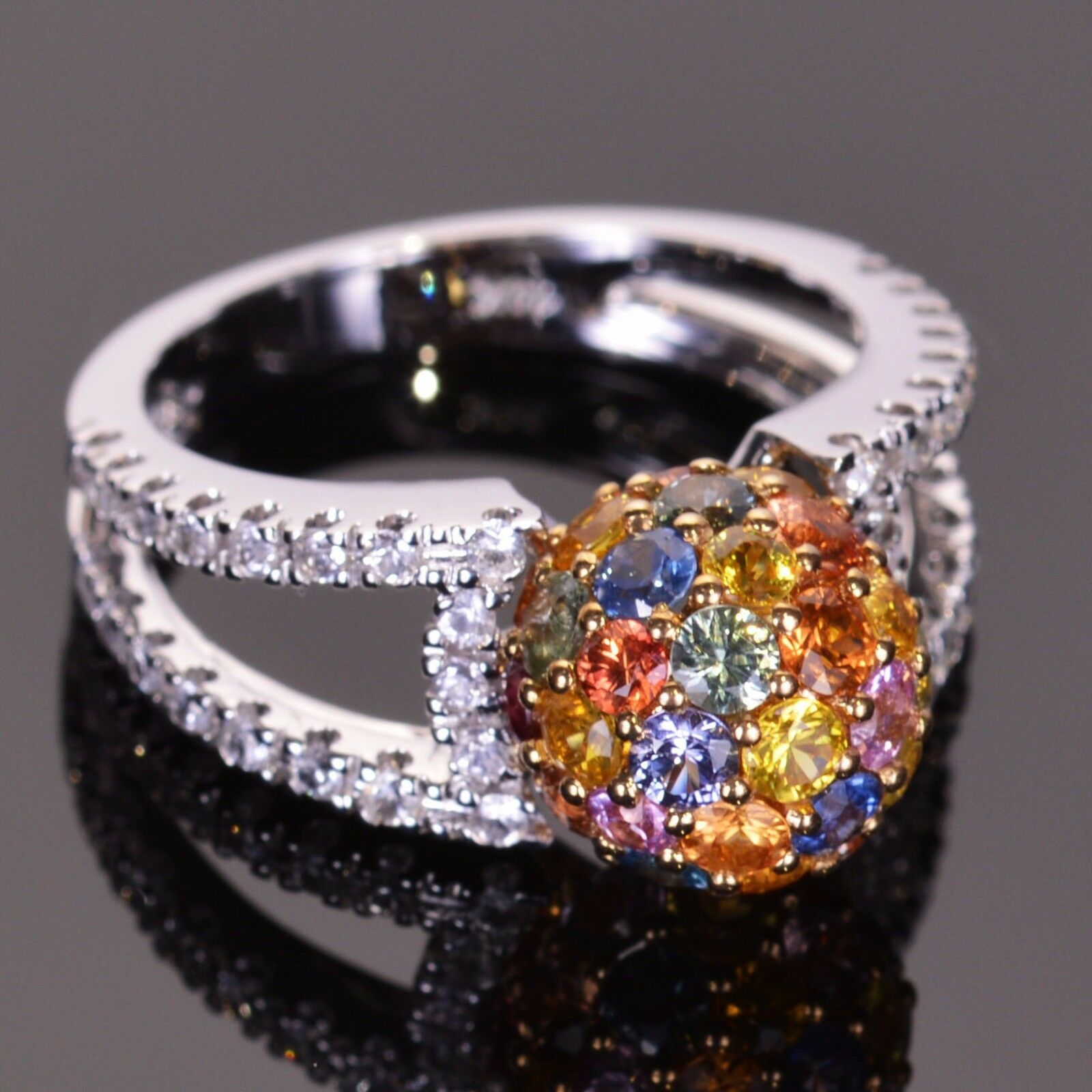 Sphere Multicolord Sapphire Ring 14k White and Yellow gold