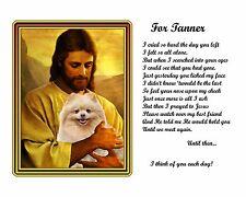 Tan Pomeranian Dog Memorial w/Jesus/Poem Personalized w/Pet's Name-Unique