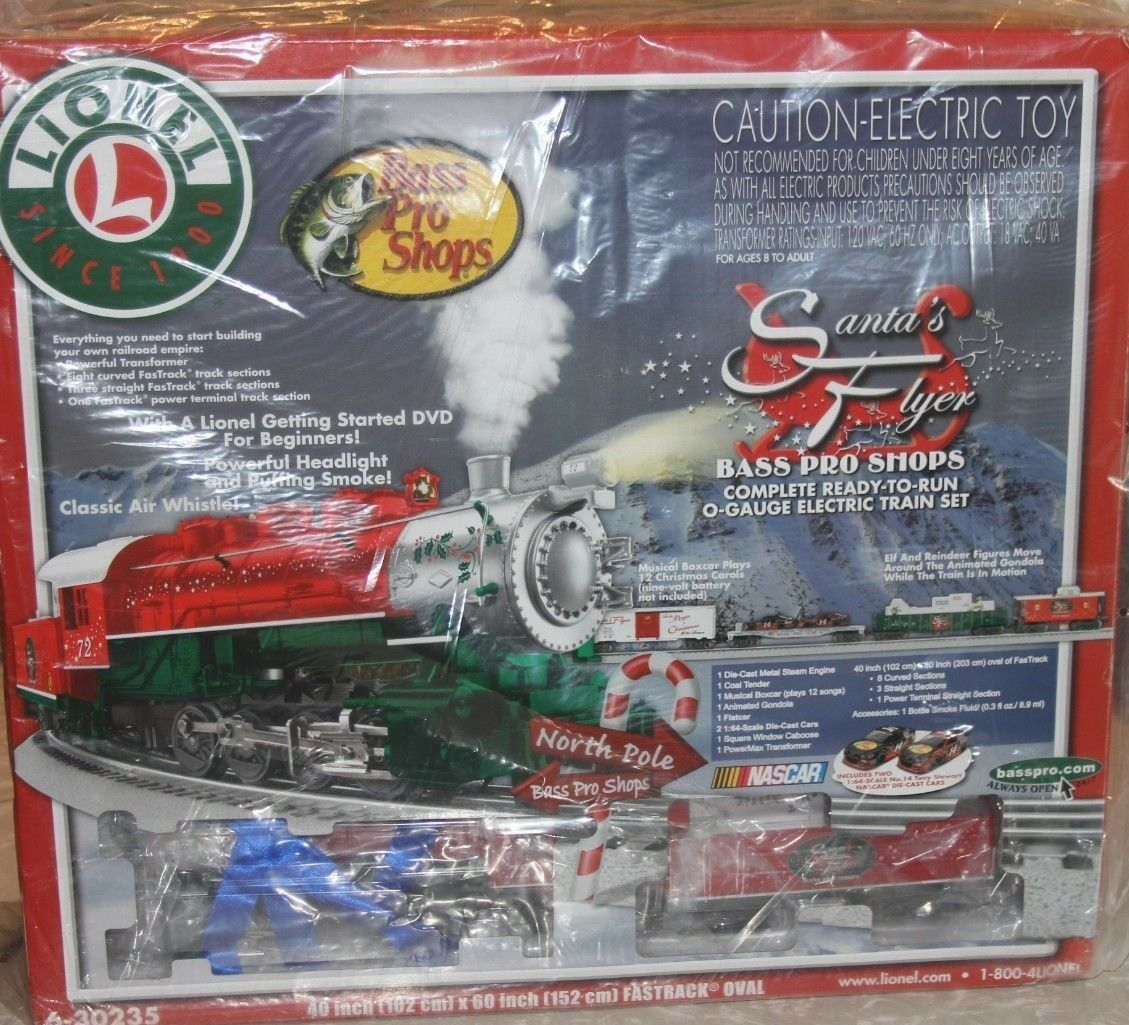 Lionel Santa's Flyer Train Set Bass Pro Exclusive NASCAR Animate Musical Whistle