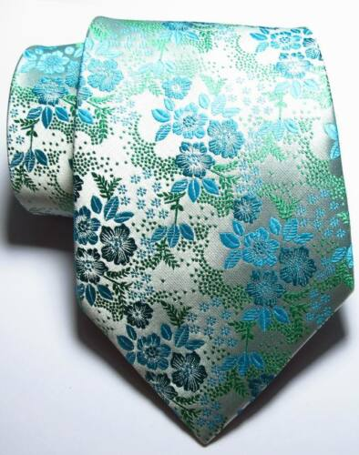 New Classic Floral Light Blue White Green JACQUARD WOVEN Silk Men/'s Tie Necktie