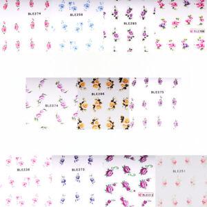 Nagel-Sticker-One-Stroke-Wasserloeslich-Rosen-Blumen-Nailart-Tattoo-Auswahl