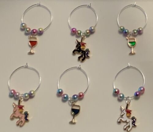 6 Unicorn and Wine Glass Charm Rings for Prosecco Hen Night LGBT Birthdays