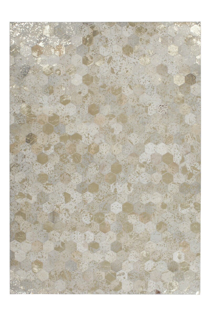 Tapis Flachflor Modern cuir tapis fait main Ivoire Or