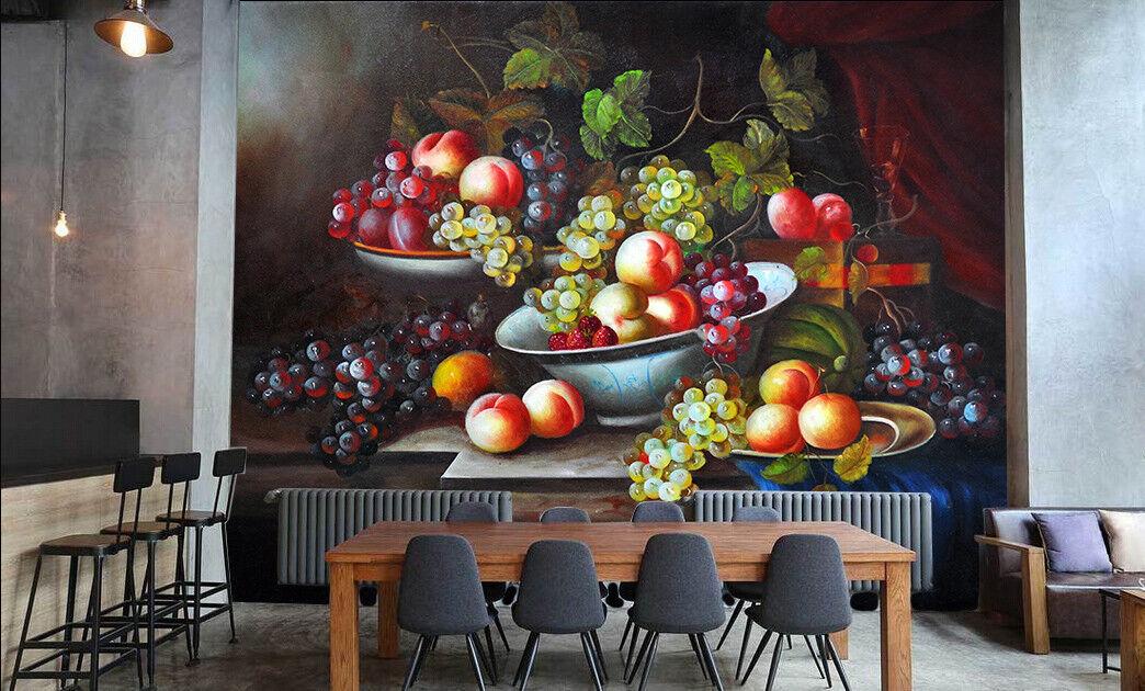 Papel Pintado Mural De Vellón Pintura al Óleo De Frutas 2 Paisaje Fondo Pantalla