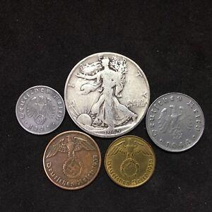 Silver-Walking-Liberty-Half-Dollar-World-War-2-Germany-Zinc-amp-Bronze-5-Coin-Lot