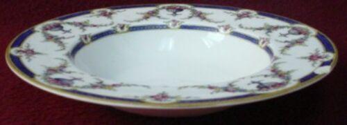 "ROYAL WORCESTER china ROSEMARY DARK BLUE pattern Rim Soup or Salad Bowl @ 8/"""