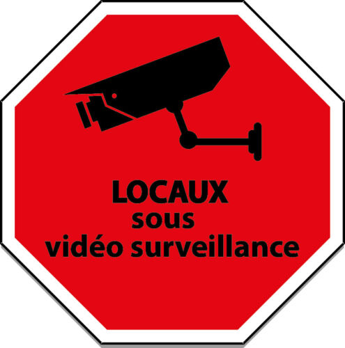 STICKER ADHESIF  AUTOCOLLANT LOCAUX SOUS VIDEO SURVEILLANCE 5X5CM