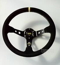 Universal 350mm Suede Deep Dish Steering Wheel Fits Omp Sparco Momo Boss Kit