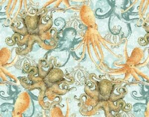 FAT-QUARTER-FABRIC-COASTAL-OCTOPUS-SEA-OCEAN-SEA-LIFE-SAND-DOLLAR-COTTON-FQ