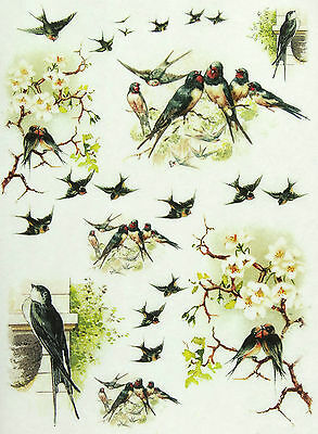 Rice Paper for Decoupage, Scrapbook Sheet, Craft Swallows 2