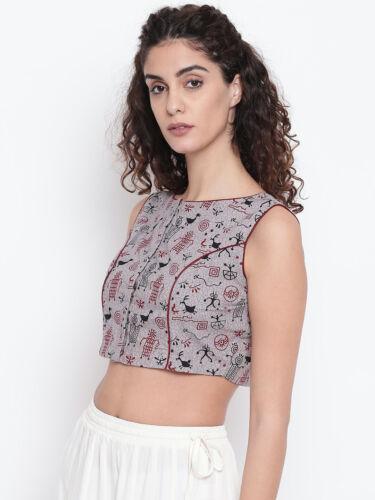 Details about  /Women Grey /& Maroon Printed  Readymade Sari Blouse Saree Choli Tunic Party Wear